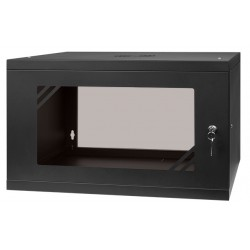 "RACK cabinet 19"" 6U  450mm, Glass-Black / RC19-6U-450GB"